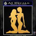 2 Lesbians Decal Sticker Gold Vinyl 120x120