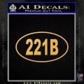 221b Sherlock Holmes Euro Decal Sticker Gold Vinyl 120x120