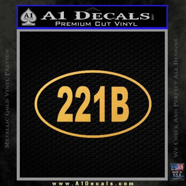 221b Sherlock Holmes Euro Decal Sticker Gold Vinyl