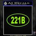 221b Sherlock Holmes Euro Decal Sticker Lime Green Vinyl 120x120