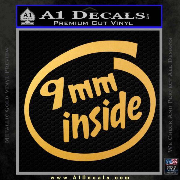 9mm Inside Gun Decal Sticker Gold Vinyl