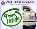 9mm Inside Gun Decal Sticker Green Vinyl Logo 120x97