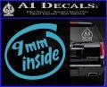 9mm Inside Gun Decal Sticker Light Blue Vinyl 120x97