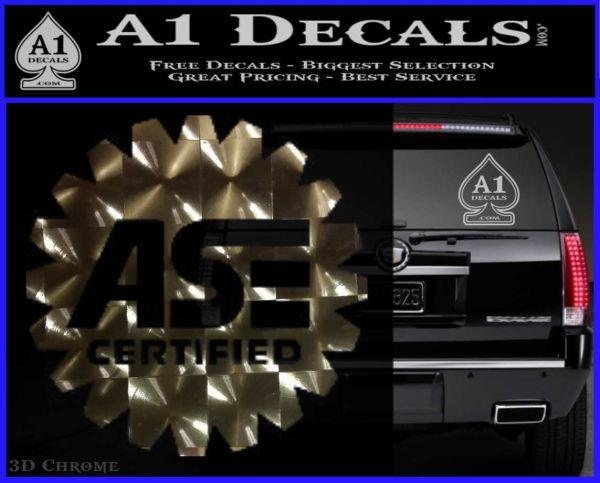 ASE Certified Mechanic Decal Sticker CR 3DChrome Vinyl