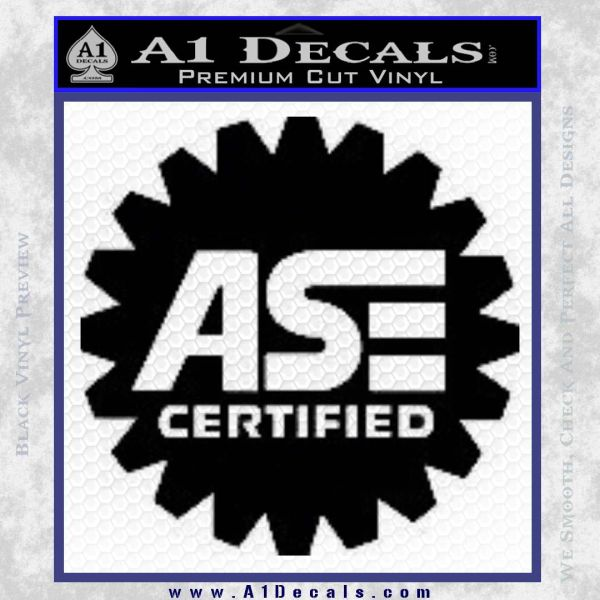 ASE Certified Mechanic Decal Sticker CR Black Vinyl