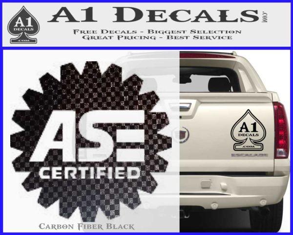 ASE Certified Mechanic Decal Sticker CR Carbon FIber Black Vinyl