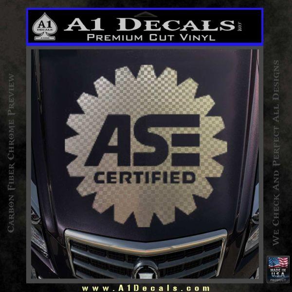 ASE Certified Mechanic Decal Sticker CR Carbon FIber Chrome Vinyl