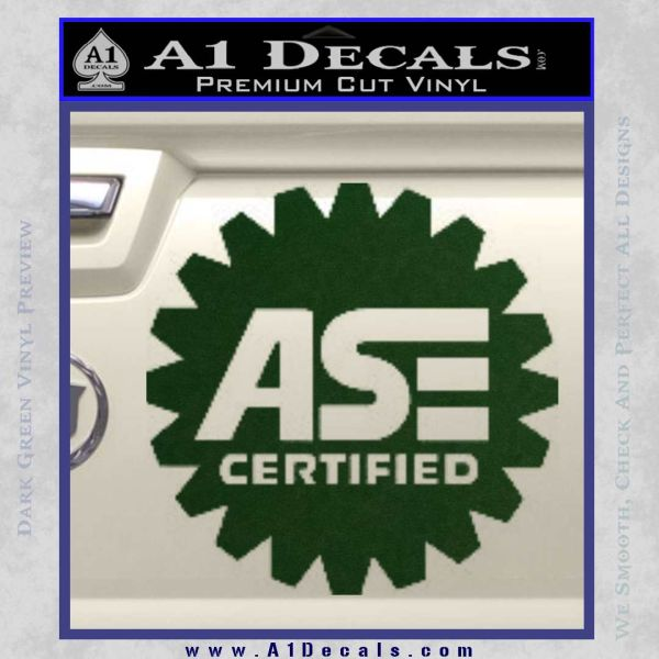 ASE Certified Mechanic Decal Sticker CR Dark Green Vinyl