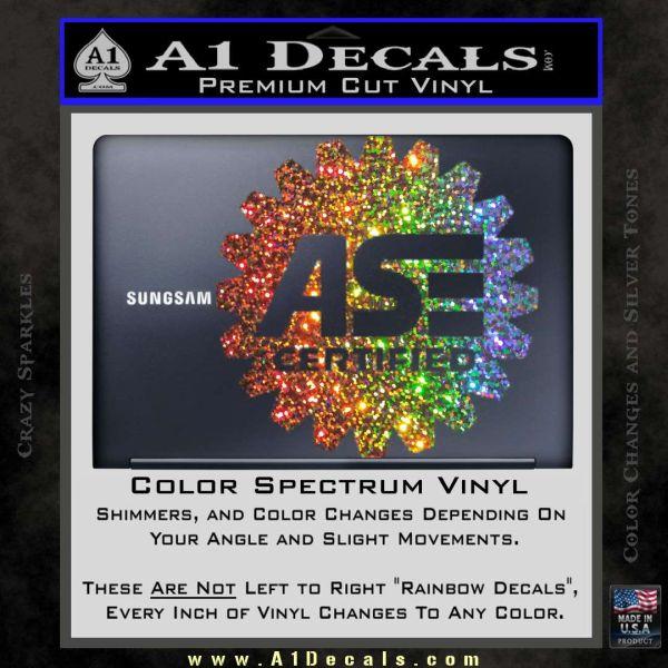 ASE Certified Mechanic Decal Sticker CR Glitter Sparkle
