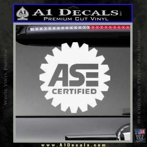 ASE Certified Mechanic Decal Sticker CR Gloss White Vinyl