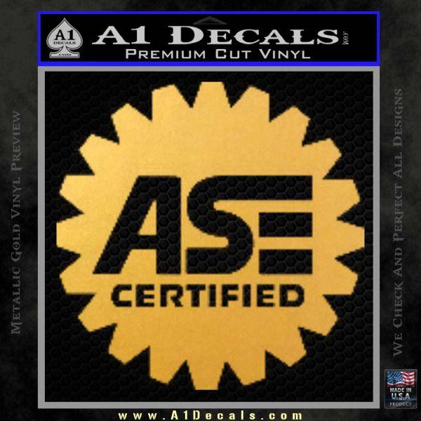 ASE Certified Mechanic Decal Sticker CR Gold Vinyl