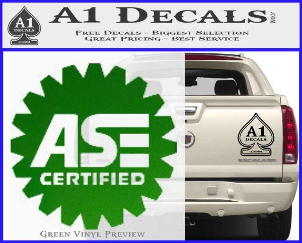 ASE Certified Mechanic Decal Sticker CR Green Vinyl Logo