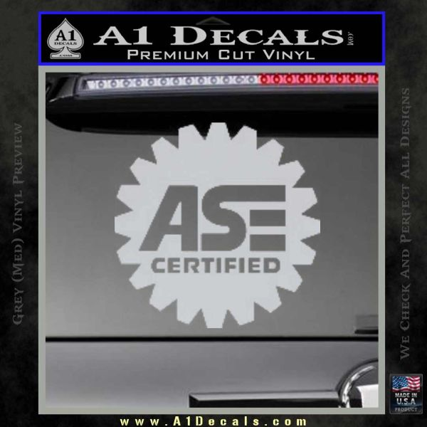ASE Certified Mechanic Decal Sticker CR Grey Bumper