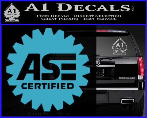 ASE Certified Mechanic Decal Sticker CR Light Blue Vinyl