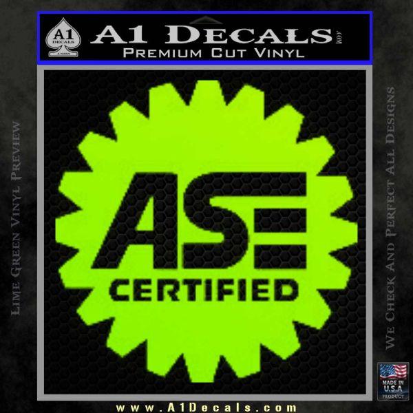 ASE Certified Mechanic Decal Sticker CR Lime Green Vinyl