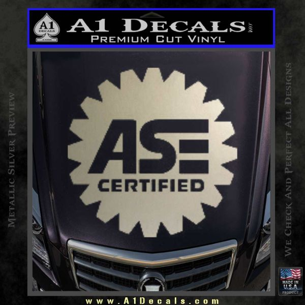 ASE Certified Mechanic Decal Sticker CR Metallic Silver Emblem