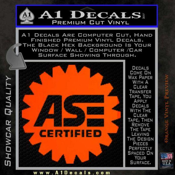 ASE Certified Mechanic Decal Sticker CR Orange Emblem