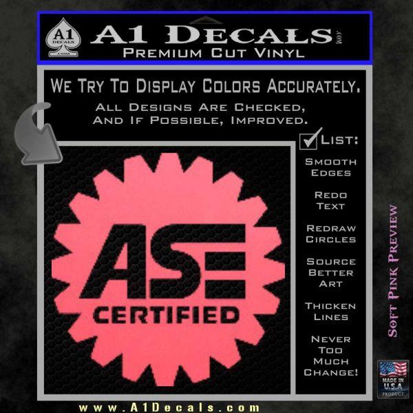 ASE Certified Mechanic Decal Sticker CR Pink Emblem