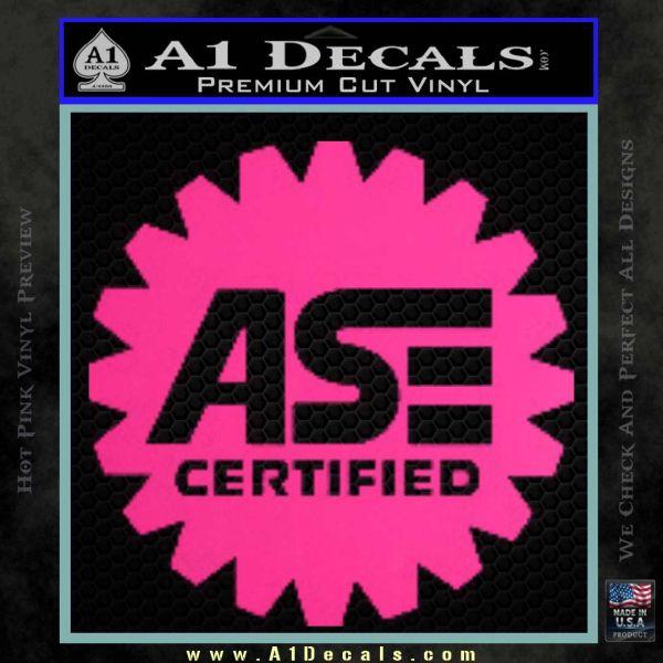 ASE Certified Mechanic Decal Sticker CR Pink Hot Vinyl