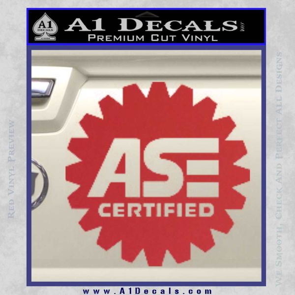 ASE Certified Mechanic Decal Sticker CR Red