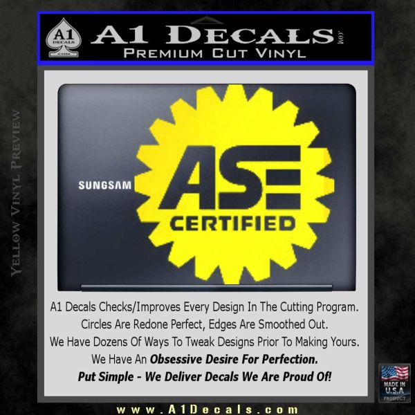 ASE Certified Mechanic Decal Sticker CR Yellow Laptop