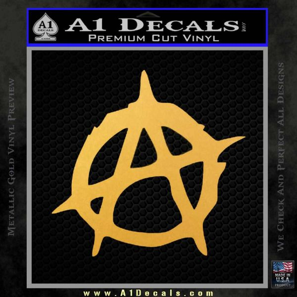 Anarchy Decal Sticker Rough Gold Vinyl