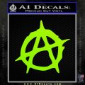 Anarchy Decal Sticker Rough Lime Green Vinyl 120x120