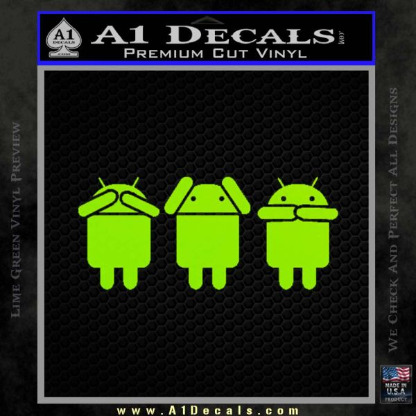 Android Hear Speak Say No Evil Decal Sticker Lime Green Vinyl