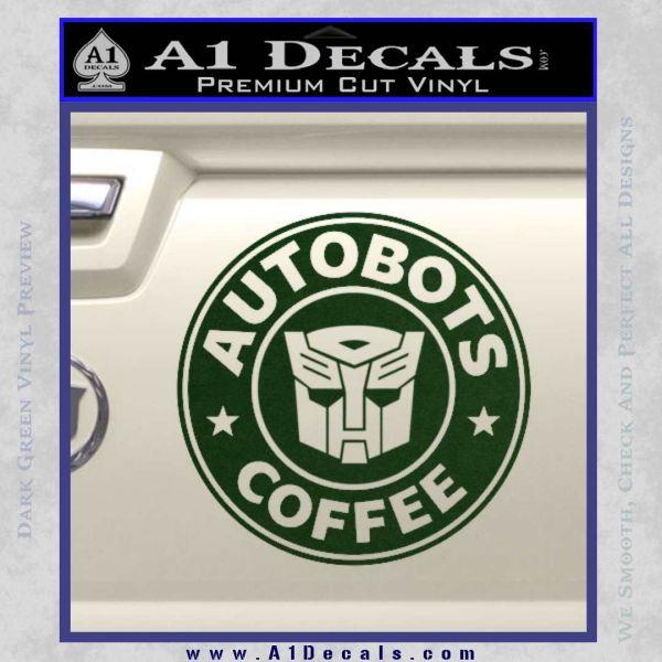 Autobots Coffee Starbucks Decal Sticker Dark Green Vinyl