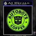 Autobots Coffee Starbucks Decal Sticker Lime Green Vinyl 120x120