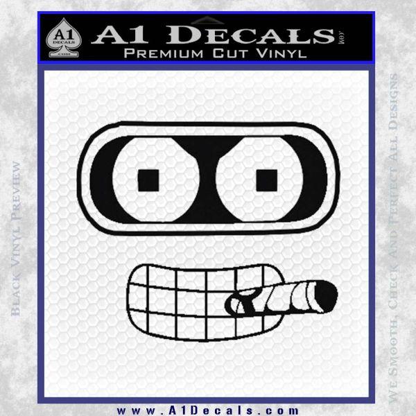 Bender Face Cigar Decal Sticker Futurama Black Vinyl