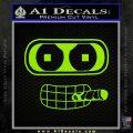 Bender Face Cigar Decal Sticker Futurama Lime Green Vinyl 120x120