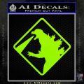 Beware Of Godzilla Decal Sticker Lime Green Vinyl 120x120