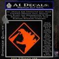 Beware Of Godzilla Decal Sticker Orange Emblem 120x120