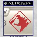 Beware Of Godzilla Decal Sticker Red 120x120