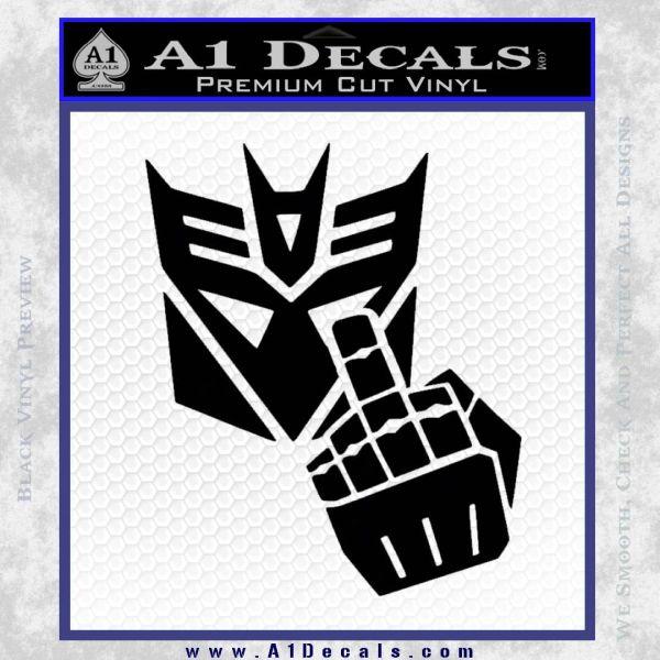 Decepticon Flipping Off Decal Sticker Black Vinyl