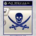 Jolly Roger Pirate Skull Decal Sticker Blue Vinyl 120x120