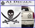 Jolly Roger Pirate Skull Decal Sticker Carbon FIber Black Vinyl 120x97