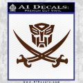 Transformers Autobot Pirate Decal Sticker BROWN Vinyl 120x120