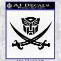 Transformers Autobot Pirate Decal Sticker Black Vinyl 120x120
