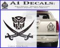 Transformers Autobot Pirate Decal Sticker Carbon FIber Black Vinyl 120x97