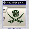 Transformers Autobot Pirate Decal Sticker Dark Green Vinyl 120x120