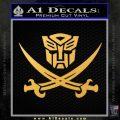 Transformers Autobot Pirate Decal Sticker Gold Vinyl 120x120