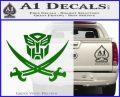 Transformers Autobot Pirate Decal Sticker Green Vinyl Logo 120x97