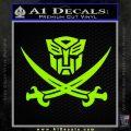 Transformers Autobot Pirate Decal Sticker Lime Green Vinyl 120x120