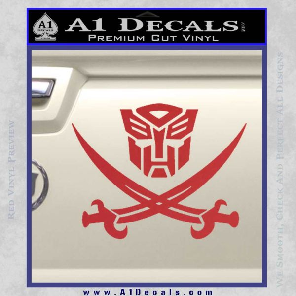 Transformers Autobot Pirate Decal Sticker Red