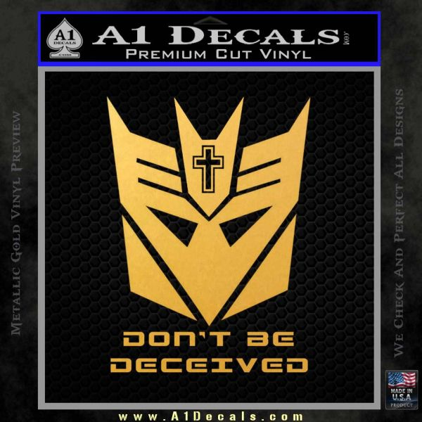 Transformers Christian Decal Sticker Decepticon Gold Vinyl