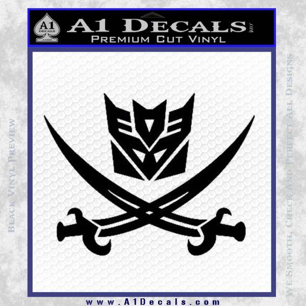 Transformers Decepticon Pirate Decal Sticker Black Vinyl