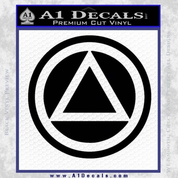 AA Alcoholics Anonymous CT D3 Decal Sticker Black Vinyl