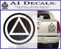 AA Alcoholics Anonymous CT D3 Decal Sticker Carbon FIber Black Vinyl 120x97